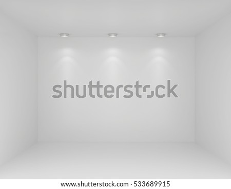 Spotlights In Gallery Interior With Empty Wall. 3d Rendering