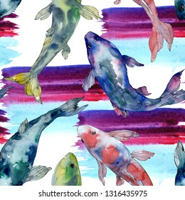 Spotted aquatic underwater colorful fish set. Red sea and exotic fishes inside. Watercolor illustration set. Watercolour drawing fashion aquarelle. Seamless background pattern. Fabric wallpaper print.
