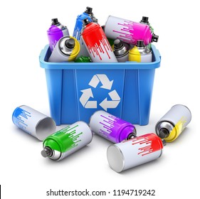 Spray cans in blue recycle crate on white background- 3D illustration
