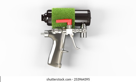 Spray foam PU insulation gun. Eco concept