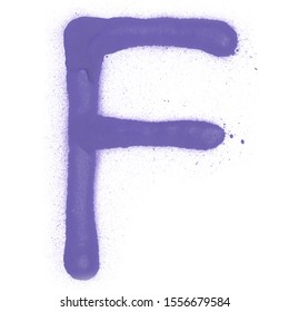 Spray graffiti alphabet letter with paint splashes on the white isolated background for clip art.
