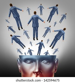 Spread the message communication concept with an open human head  with people coming out as a business group marketing and advertising icon .