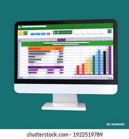 Spreadsheet on Computer screen 3d render icon. Financial accounting report concept. office things for planning, accounting, analysis, audit, project management, marketing, research data illustration