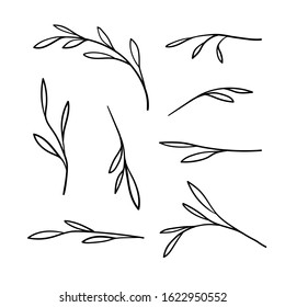 Sprigs set illustration isolated on white background. Sprigs sketch. Spring sprigs. Spring doodle set, Isolated hand drawn nature elements