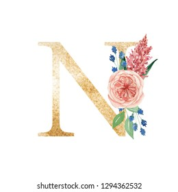 Spring alphabet, flowers, watercolor drawing