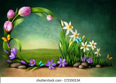 Spring background for greeting card or illustration