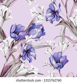 Spring Bouquet Seamless Pattern. Hand Painted Illustration. Watercolor Background.