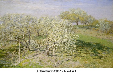Spring , by Claude Monet, 1873, French impressionist painting, oil on canvas. This work was painted near his home in Argenteuil, on the Seine, northwest of Paris
