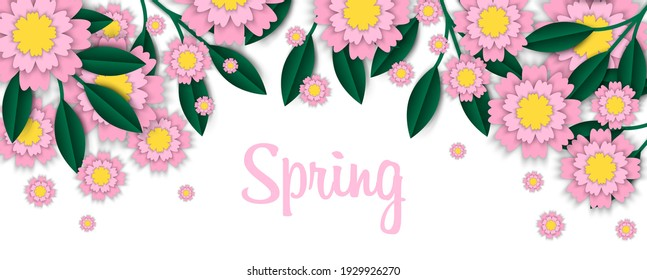 Spring card with paper flowers for online shopping, advertising actions, magazines and websites. illustration. Natural flower invitation for spring party. Blossom frame greeting card.