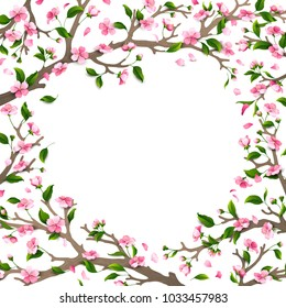 Spring card template. Spring time. Blossoms and leaves on tree branches. Falling petals. There is place for your text in the center.