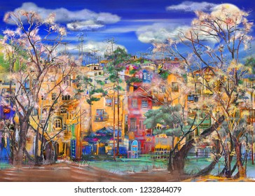 Spring cityscape with curved trees.Oil painting artwork.