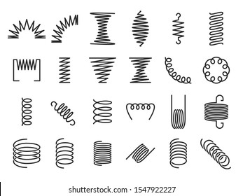 Spring coils. Metal spiral springs, metallic coil and linear spirals silhouette. Vape or machine steel coil, twisted spiral flexibility spring part. Isolated  icon set