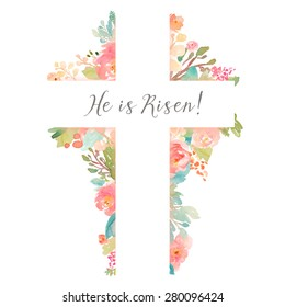 Spring Cross With Flowers and He is Risen Easter Quote