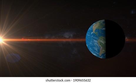 spring equinox, summer solstice, global warming  3d rendering illustration