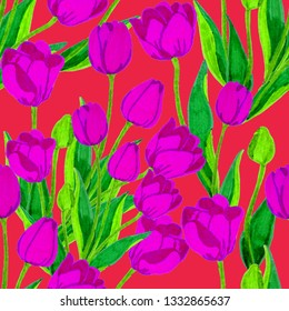 Spring floral seamless pattern with hand drawn tulips