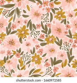 Spring floral seamless pattern in pink colors. Delicate peonies and leaves. Repeated fabric design.