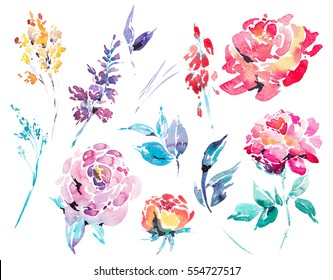 Spring floral set of abstract watercolor blooming red roses, leaves, branches, flowers and wildflowers, watercolor botanical isolated design elements on white background.