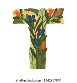 Spring flower font. Floral hand drawn lettering. Decorative botanical alphabet. Flower monogram. Letter T