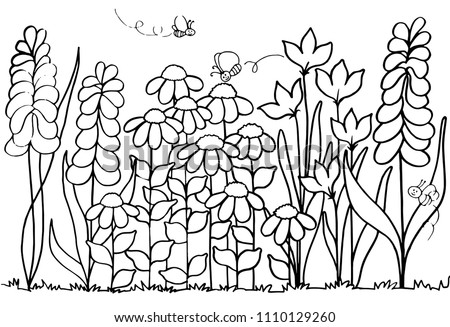 Spring Flower Garden Coloring Page Stock Illustration Royalty Free