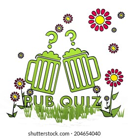 spring flower hand drawn sketch of pub quiz with simple flowers on white background
