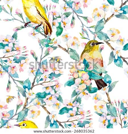 Spring Flowers Birds Pattern Spring Fashion Stockillustration