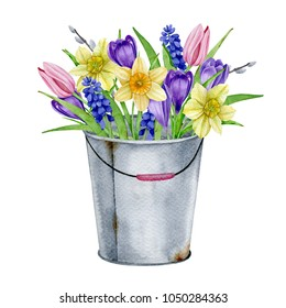 Spring flowers in a bucket, watercolor