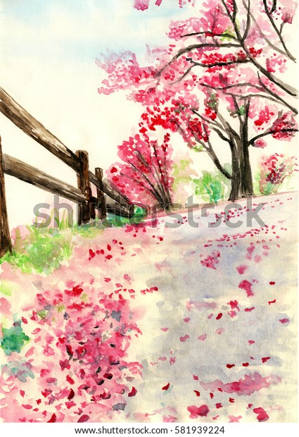 Spring flowers fall to the ground,watercolor illustration
