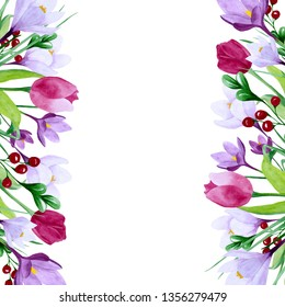 Spring flowers frame. Hand drawn watercolor illustration. Background with crocuses and tulips. Border on a white background with place for text. Template for design cards