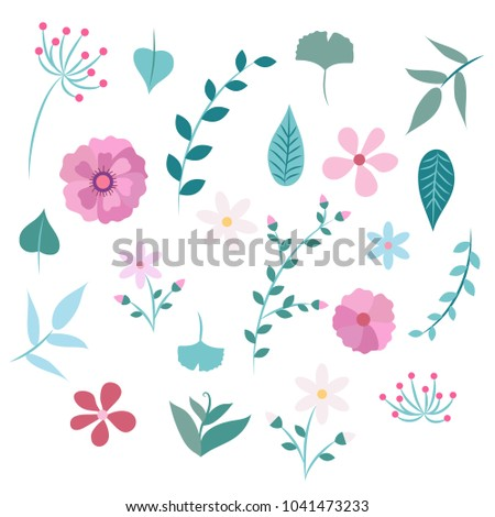 Spring flowers leaves different types flowers stock illustration spring flowers and leaves different types of flowers and leaves illustration design template mightylinksfo