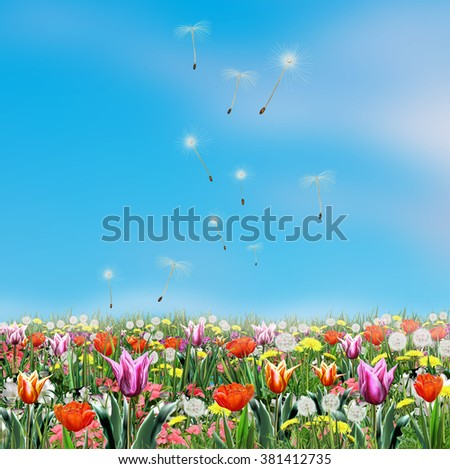Spring Flowers Light Blue Sky Digital Stockillustration 381412735