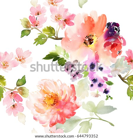 Spring Flowers On White Background Peony Stock Illustration