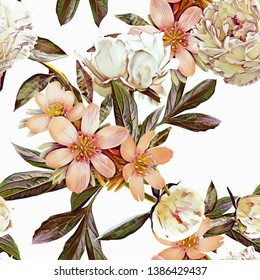 Spring flowers seamless pattern. Floral template. Hand painted art. Watercolor illustration.
