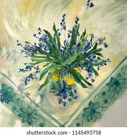 Spring flowers in a yellow vase. Blue Bells, Cornflowers. Still life on a white tablecloth with patterns embroidered in technique of gzhel. Large brush strokes artist realistic painting. Triangle form