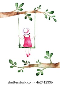 Spring girl - illustration. Watercolor background. Colorful abstract texture. Watercolor girl with flowers. Mother's greeting card. Valentine's day background. Girl on swing. Flower swing.
