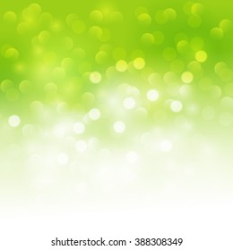 Spring green Abstract colorful vector background. Green blurred background with bokeh