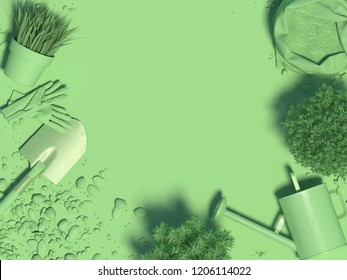Spring green monochrome background with garden tools and plants in flowerpots. Copy space. Top view. 3D rendering.