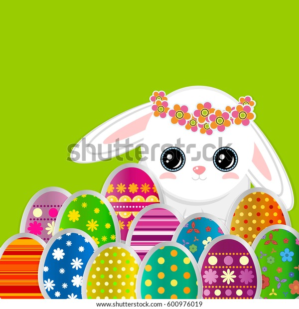 Spring greeting background with Easter eggs and a cute little white rabbit. Festive paper images of eggs on a square light frame. Greetings card with the Happy Easter!