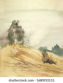Spring hill watercolor landscape outdoor sketch hand drawn illustration