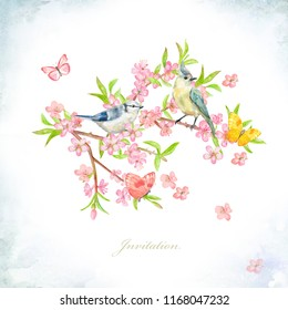 spring invitation card. watercolor painting