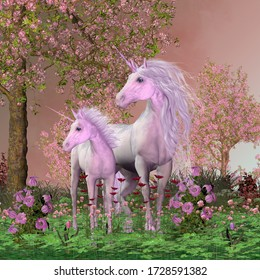 Spring Mare and Foal Unicorns 3D illustration - A white unicorn mare and her foal look towards a sound they heard in a forest full of cherry blossoms.