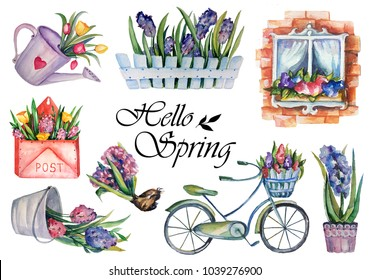 Spring mood set. Flowers with bicycle, watering pot and post envelope.