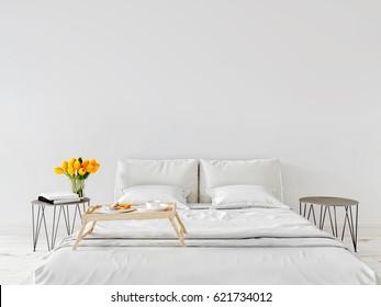 Spring morning Mock up wall bedroom interior urban contemporary design. Scandinavian style interior. 3d rendering