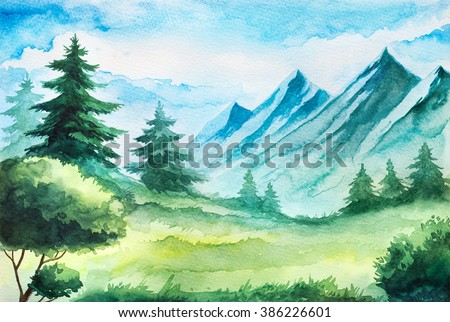 spring mountain watercolor landscape stock illustration 386226601