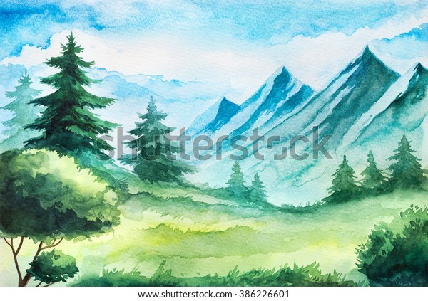 Spring Mountain Watercolor Landscape Stockillustration 386226601
