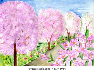 spring orchard of blumming trees pink and white flowers