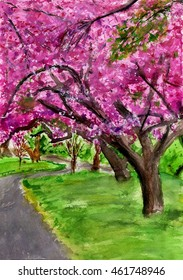 spring orchard of blumming trees of pink flowers