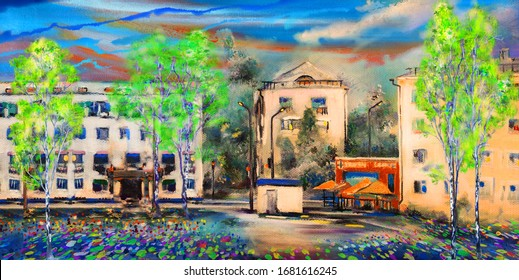 Spring panorama and the intersection on the main street in the Novosibirsk Academgorodok. Oil painting.
