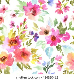 Spring pattern with flowers and plants. Watercolor floral illustration.Seamless pattern.