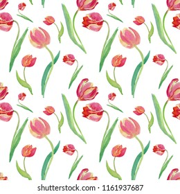 Spring pattern with tulips.Beautiful background. Seamless pattern can be used for textile, wallpaper, wrapping paper, web design.