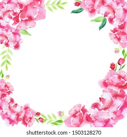 spring peonies square boarder wedding illustration